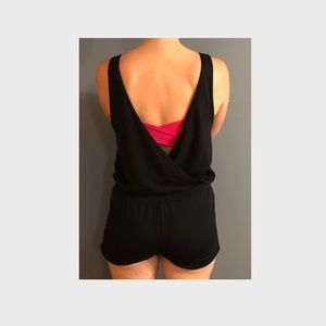 Fabletics Black Romper with Open Back